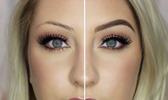 Cejas maquilladas, antes y después