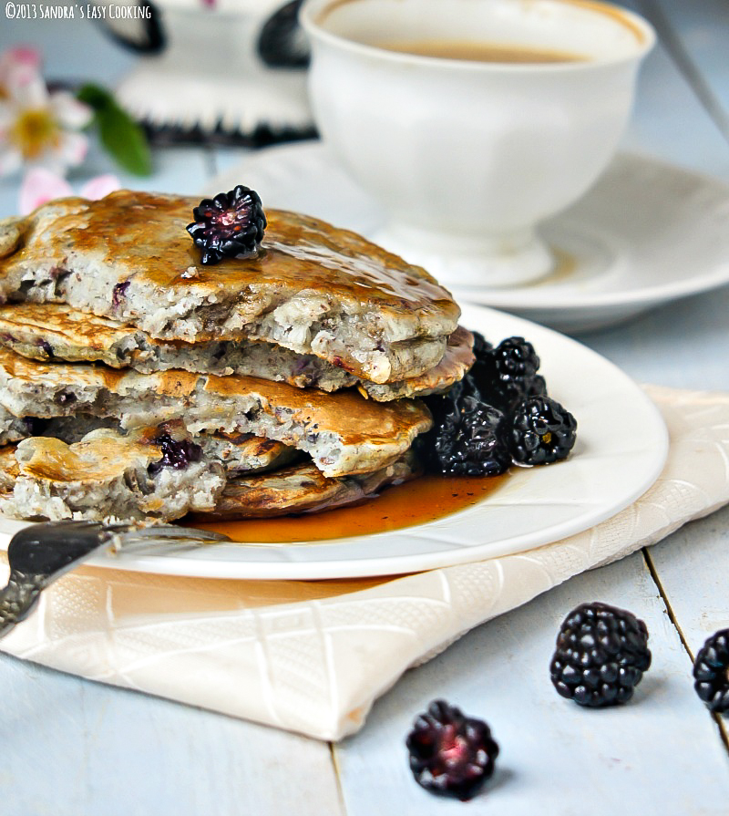Homemade Blackberry Flax Pancakes served with Vanilla soy Cafe latte perfect for any celebration especially mother's day