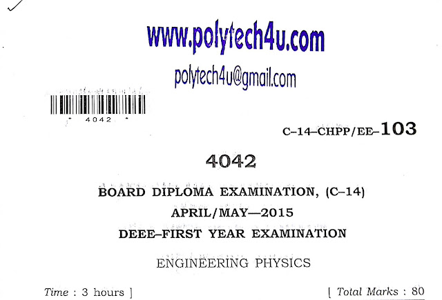 PHYSICS SBTET-AP OLD QUESTION PAPER C-14 DEEE