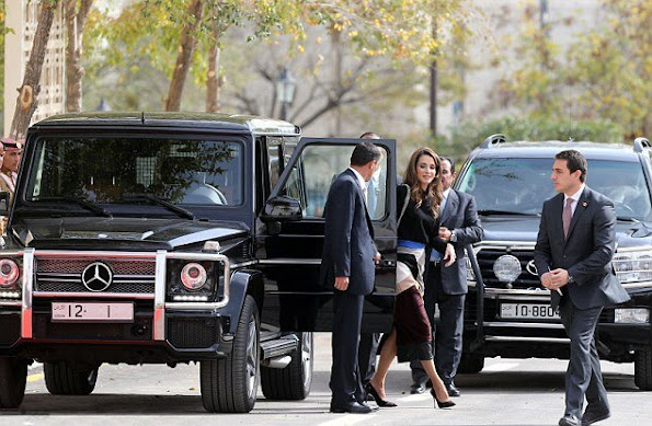 Queen Rania of Jordan and Princess Mona, (mother of King Abdullah II) attend the opening of the third regular session of the parliament in the capital Amman