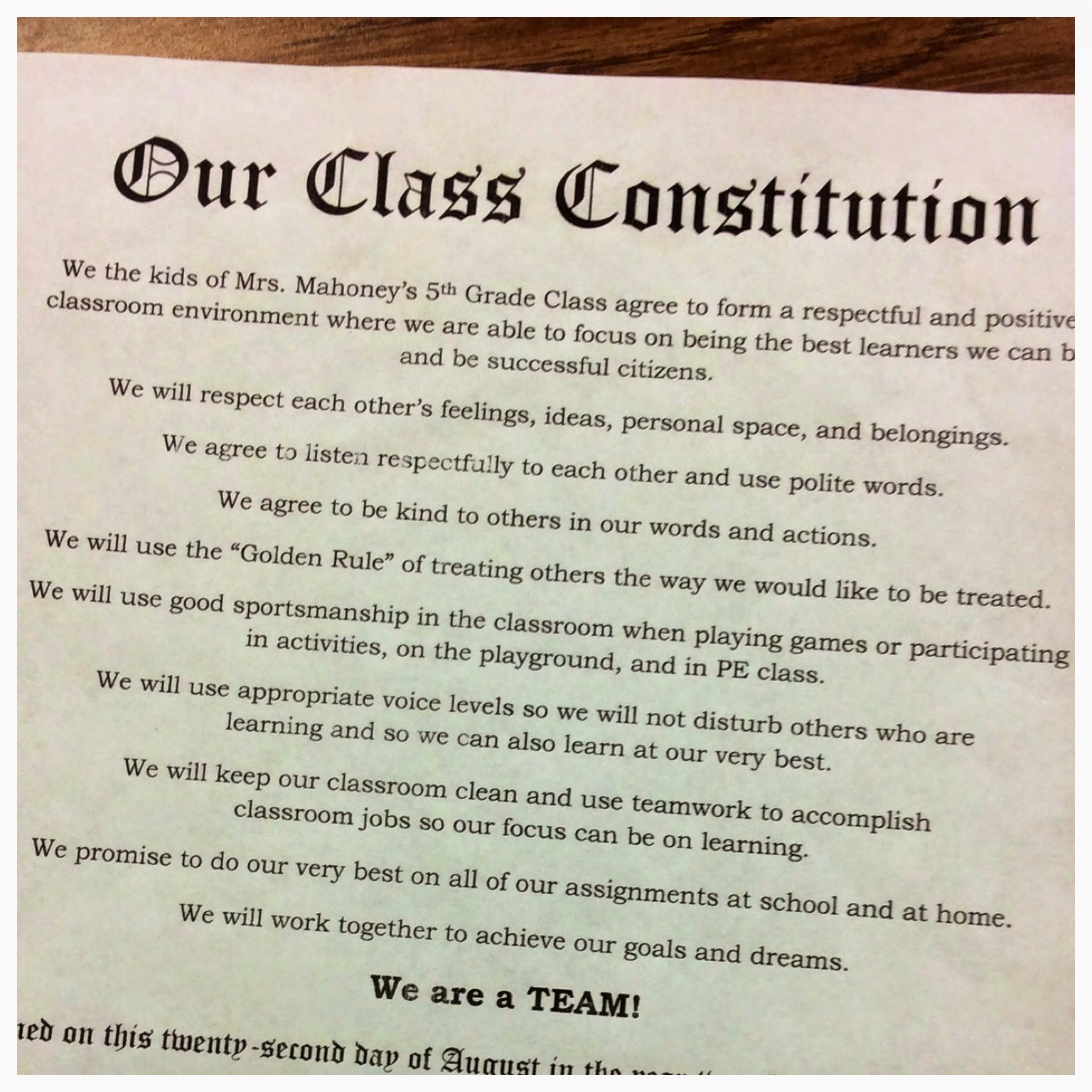 The Teacher Dish We The Kids Creating Class Constitutions