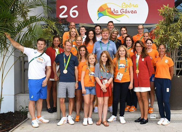King Willem-Alexander and Queen Maxima with their daughters, Princess Amalia, Princess Alexia and Princess Ariane visited Olympic Village