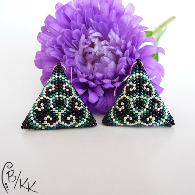 beading kolczyki peyote trójkąty | peyote triangle earrings