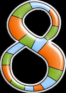 Abecedario en Verde, Naranja y Celeste.