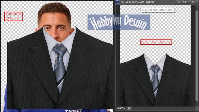Copy Template Jas dan Paste keFoto yang akan Diedit