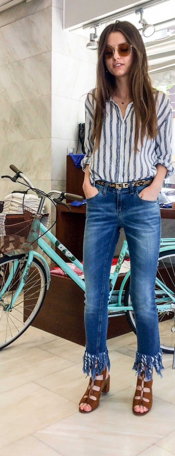denim shirt stripes fringes rinascimento kaffe
