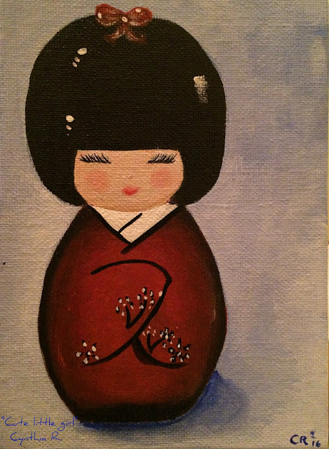 Muchacha Japonesa, Japanese girl, pintura acrílica en canvas,acrylic painting on canvas