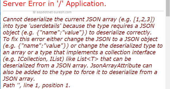 Cannot deserialize the current JSON object (e g  {