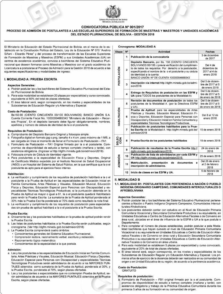 Profesores educaci n convocatoria para admisiones de for Convocatoria de maestros