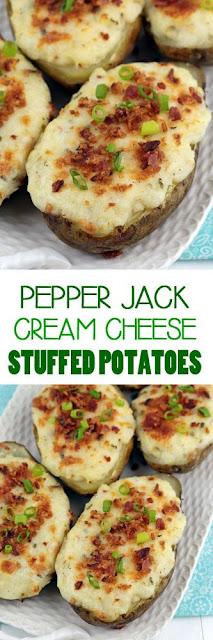 Pepper Jack and Cream Cheese Stuffed Potatoes