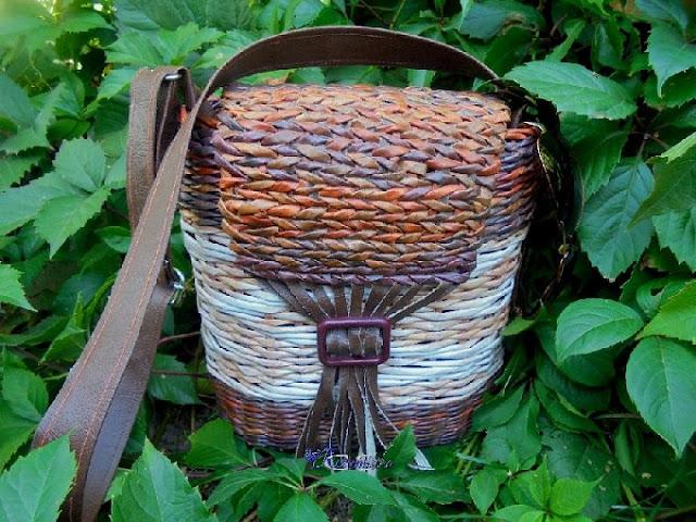 плетеная сумка с длинными ручками