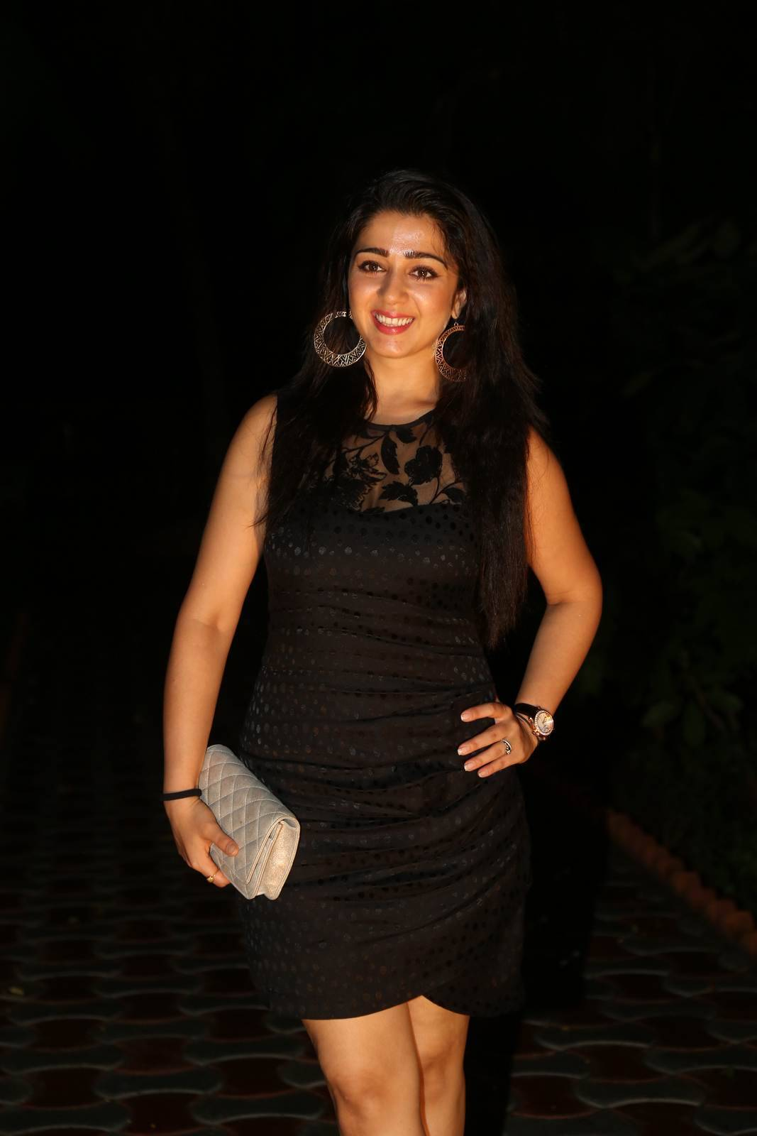 Telugu Actress Charmee, Charmee Kaur Pics Clicked in Black Dress at Event