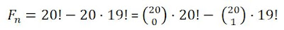 F(n) = 20! - 20·19! = C(20,0) ·20! - C(20,1)·19!