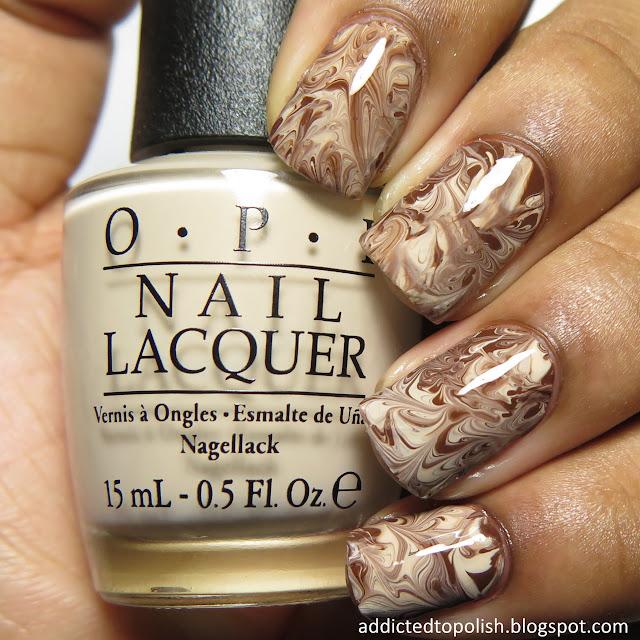 dry marble coffee nail art