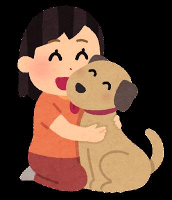 犬と女の子のイラスト(ペット)