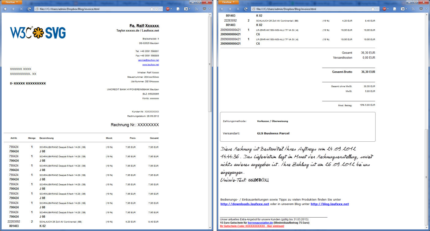 And It Gets A Perfect PDF With 2 Pages In Less Than 1 Second:  Pdf Invoices