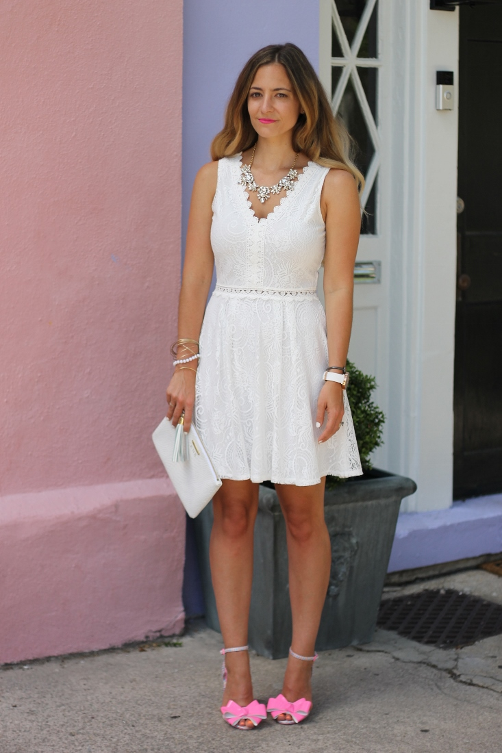 The Impeccable Pig white lace dress with pink heel