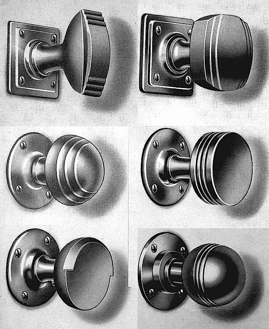 1930s domestic doorknobs, large illustration art deco