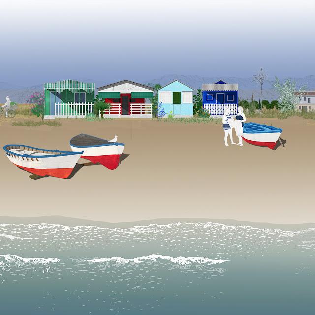 barcas, casitas baño, playa, dibujo