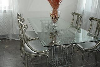 Glass tables in the interior