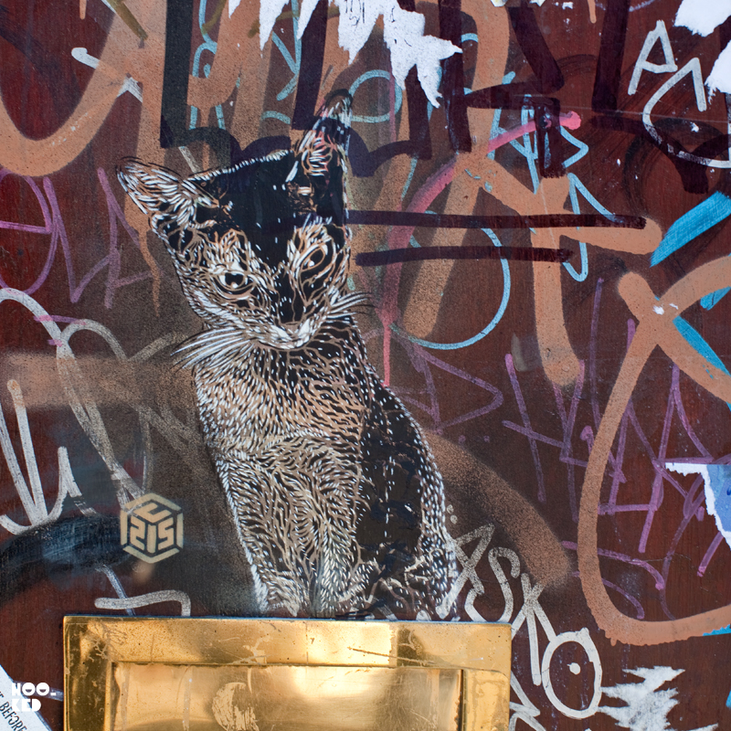 French Street Artist C215 's Clowder of Cats stencil works in London