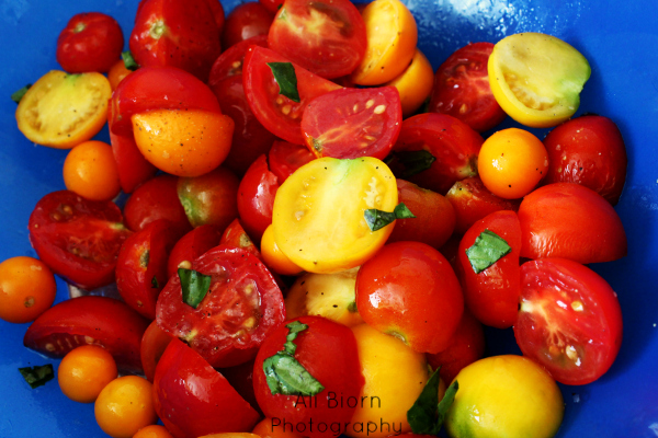 food photography fresh tomato basil salad in blue bowl