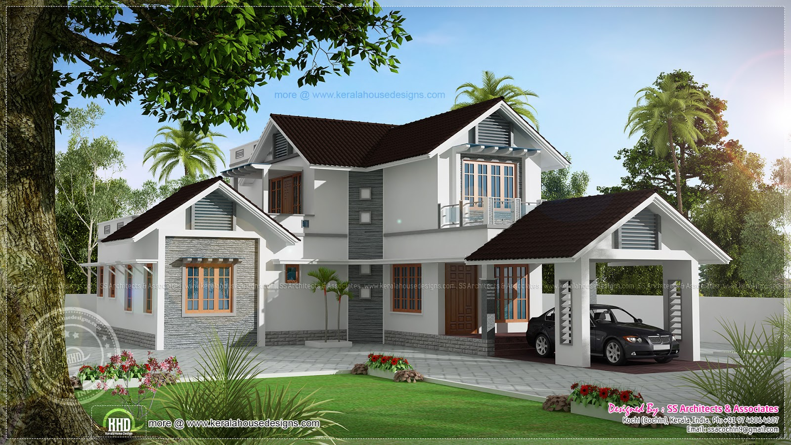 1922 sq ft double storied villa home kerala plans for Beautiful home floor plans