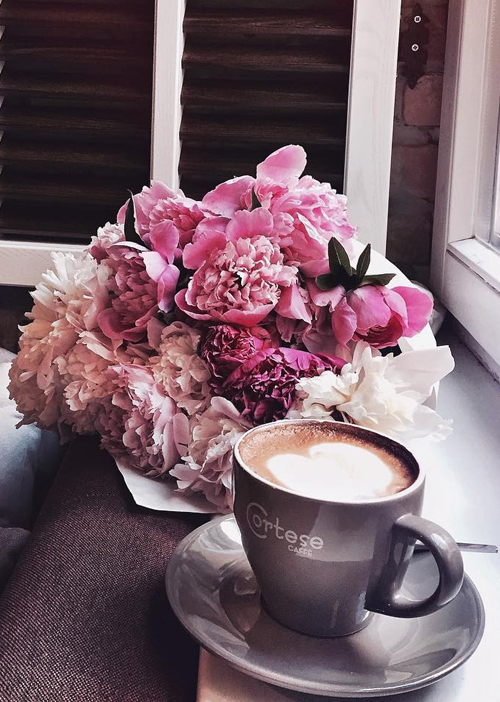 flowers + coffee time