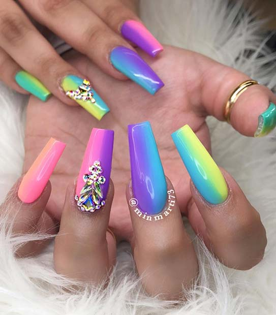 36+ Latest Colorful Rainbow Nails Ideas To Copy In Summer