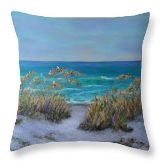 Coastal Home Decor Beach Pillow with Dunes