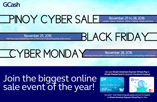 CYBERSALE FROM NOV. 25 – 28,  20% REBATE FROM GCASH AMERICAN EXPRESS VIRTUAL CARD