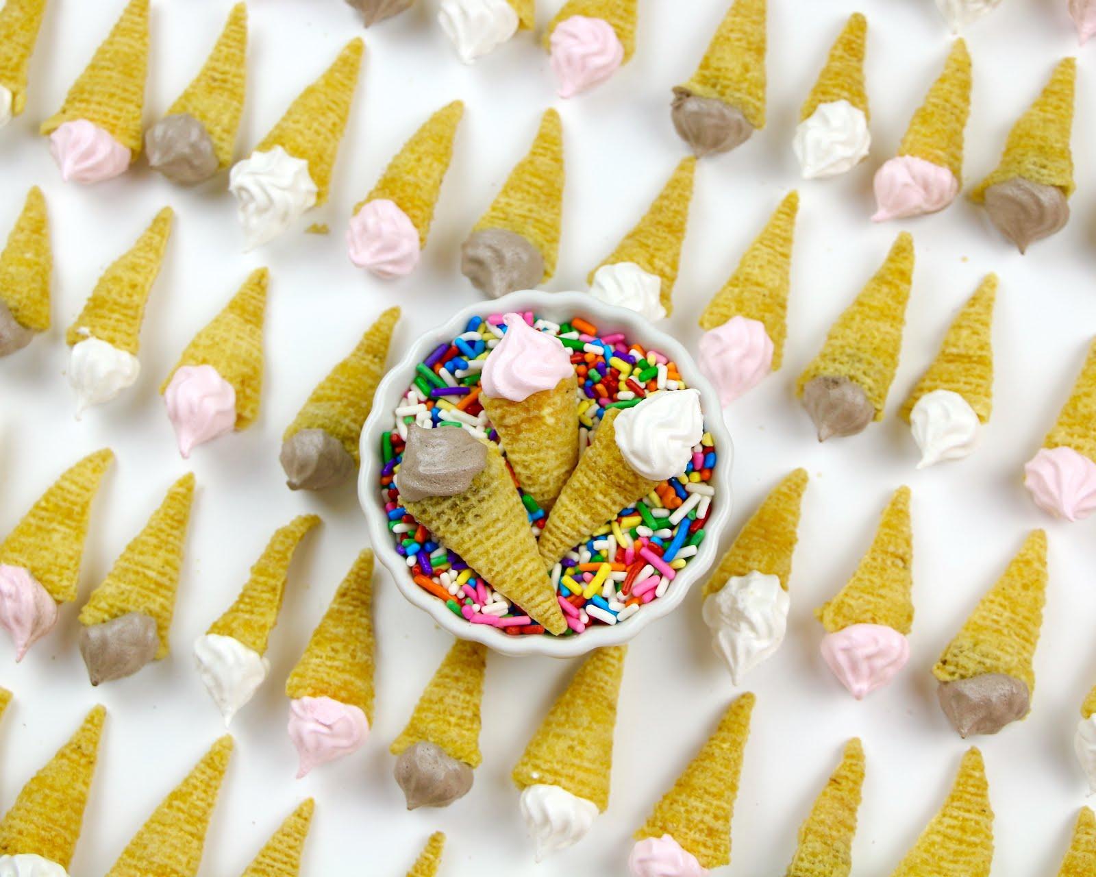 VIDEO} Mini Bugle Ice Cream Cone Meringues - The Lindsay Ann