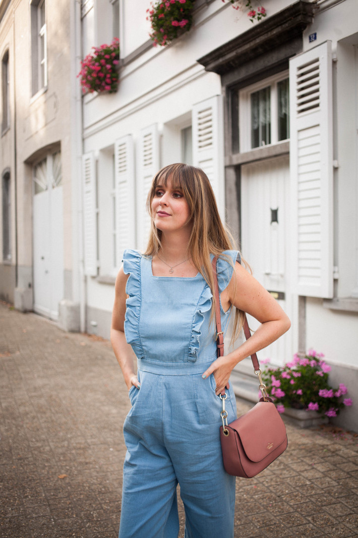 Outfit: ruffled jumpsuit, pink kate spade bag