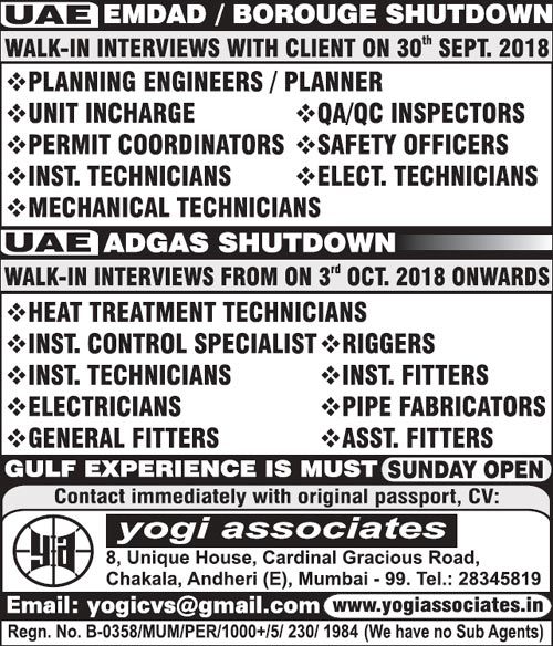 Adgas Jobs, UAE Jobs, Planning Engineer, QA/QC Jobs, Instrument Technician, HSE Officer, Mechanical Technician, Yogi Associates, Permit coordinator