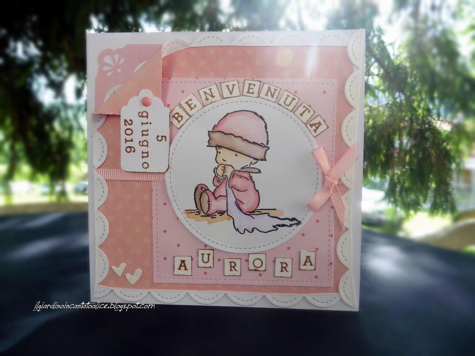 Il giardino incantato di alice biglietto nascita bambina - Il giardino di alice ...