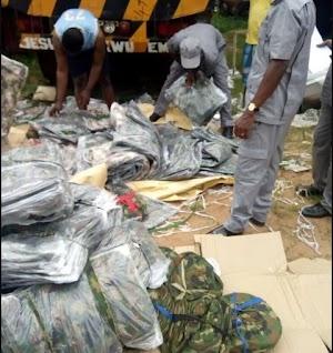 Nigeria Customs Seizes Container Load Of Military Uniforms (Photos)