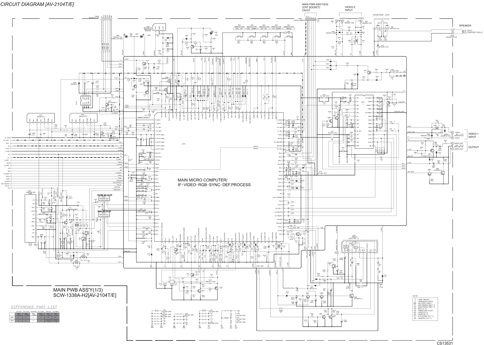 jvc av21tmg4 u2013 jvc av2104t u2013 crt tv u2013 circuit diagram u2013 [ 1600 x 1142 Pixel ]