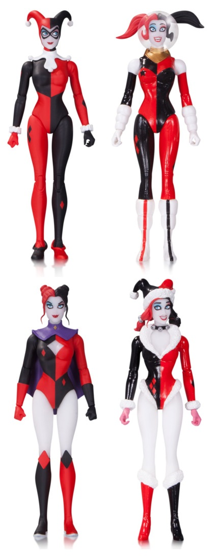 DC Comics Amanda Conner Harley Quinn Designer Action Figure Series - Classic Harley, Retro Rocket Harley, Super Hero Harley & Holiday Harley