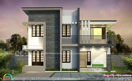 1800 square feet flat roof 4 BHK home plan