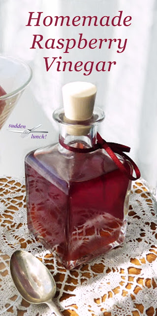 pretty bottle of homemade raspberry vinegar for pinterest
