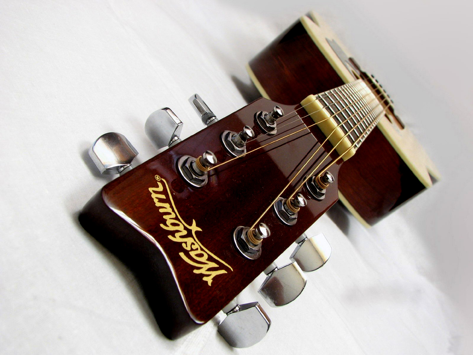 Washburn Acoustic Guitar Headstock Tuners Strings Fretboard HD Music Desktop Wallpaper 1600x1200