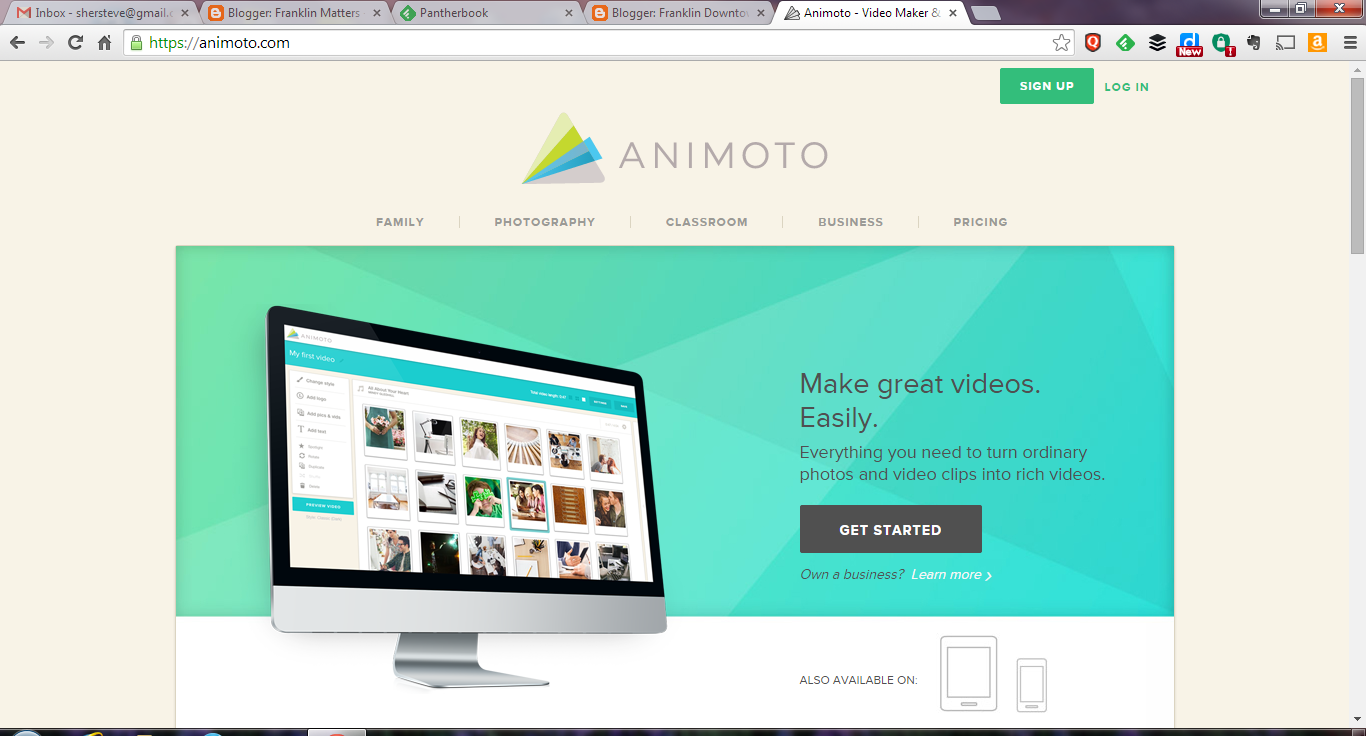 screen grab of Animoto home page