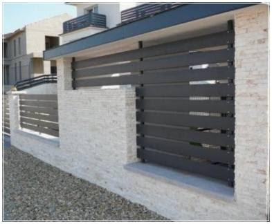contoh model pagar minimalis dengan batu alam