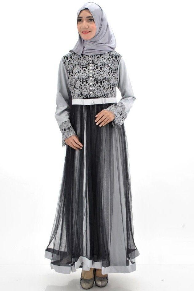 Fashion Tren Model Baju Gamis Sifon Kembang Kombinasi Renda
