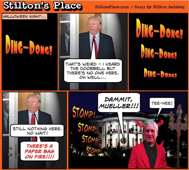stilton's place, stilton, political, humor, conservative, cartoons, jokes, hope n' change, halloween, 2017, trump, mueller, clinton, russia, collusion, indictment, walking dead, walking dems
