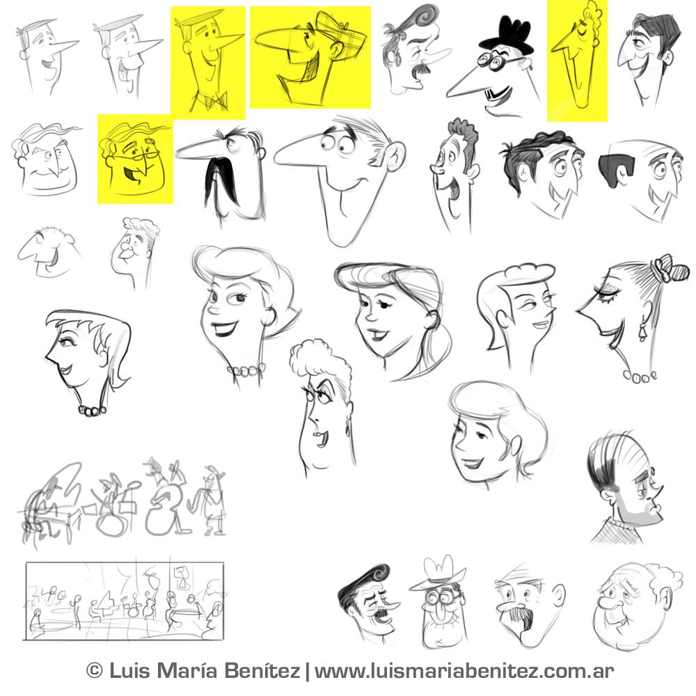 Jazz band sketches / bocetos para ilustración de banda de jazz © Luis María Benítez