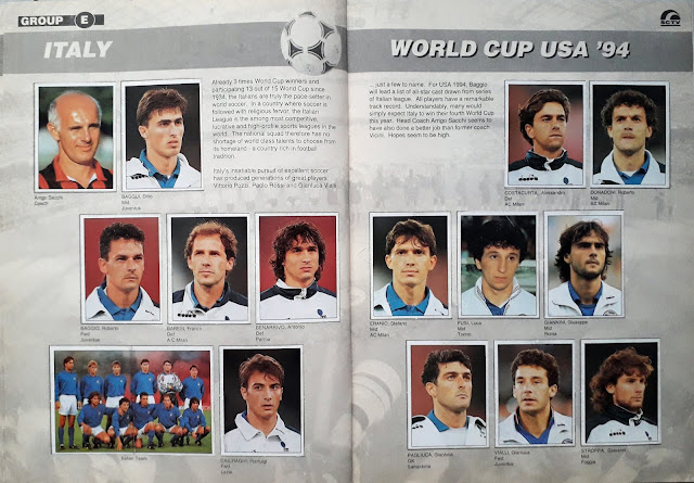 WORLD CUP USA '94 STICKER ALBUM COLLECTION GROUP E ITALY