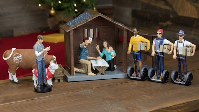 hipster nativity scene christmas