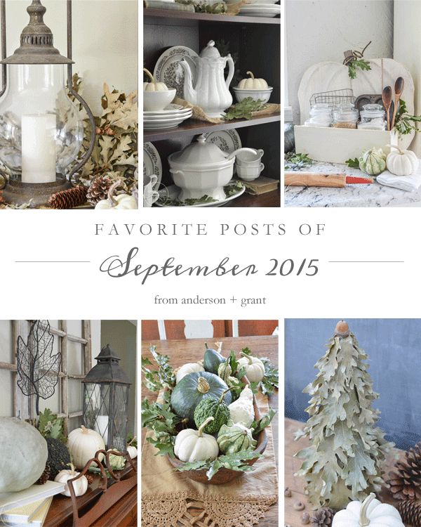 Need some great inspiration for fall decorating, DIY, and baking? Check out this post with favorites from September from www.andersonandgrant.com!