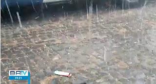Chuva de granizo atinge cidades do sul da Bahia nesta sexta e sábado